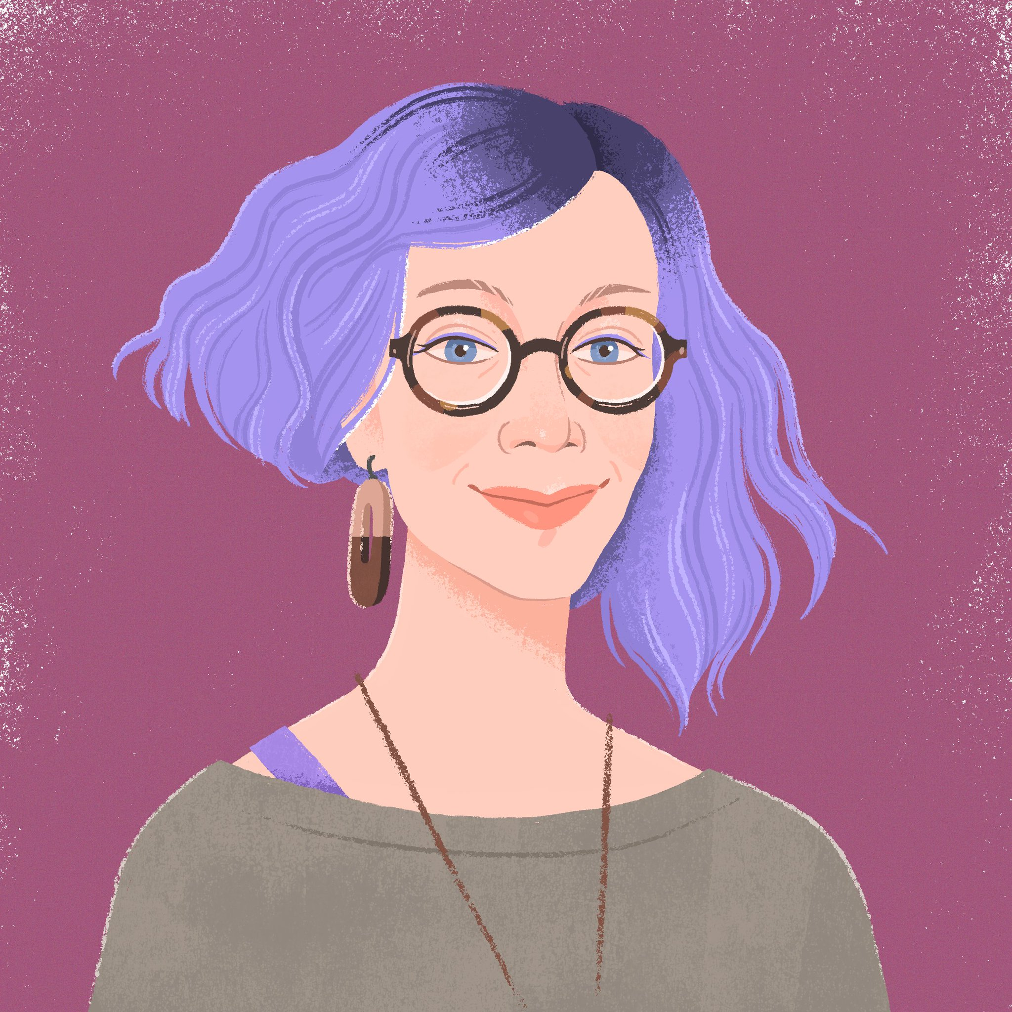 An illustration of Sasha by the Covatar team, with purple hair, a brown sweater, and round brown glasses.